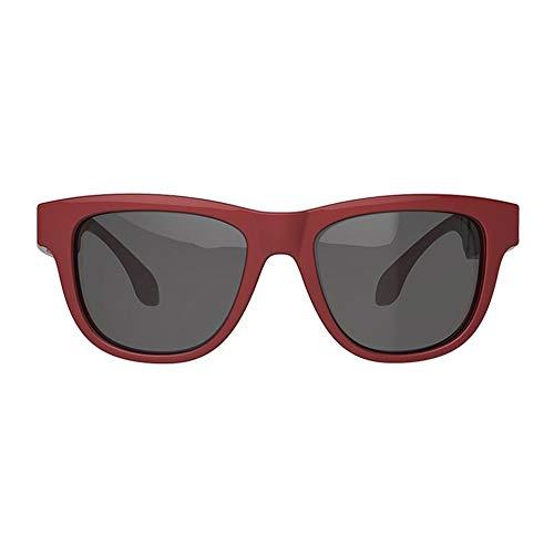 Tiramisu Gafas de sol parlantes inteligentes de conducción ósea Lentes intercambiables para exteriores Gafas de sol de conducción de haz alto - rojo y negro