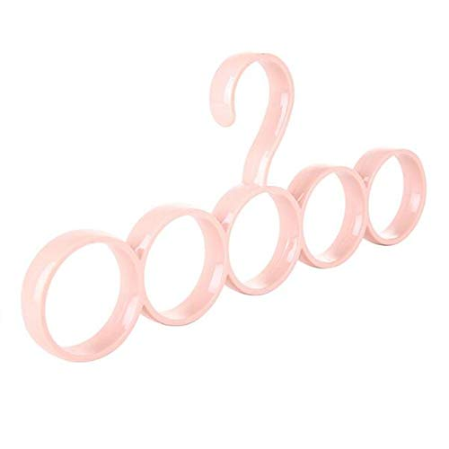 Mode Vijf-Ring Sjaal Stand Plastic Haak Pink 2 Pieces