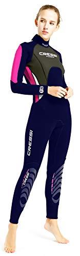 Cressi Morea Damen - Neoprenanzug 3mm für alle Wassersportarten, Rosa/Blau/Silber, XL/5