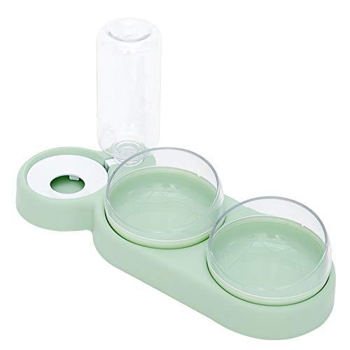 Tazón triple para comida para perros, gatos y gatos, 360°, comedero giratorio de 15°, apto para gatos y perros pequeños y medianos, separación seca y húmeda, verde