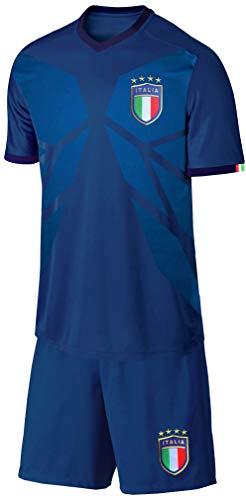 Blackshirt Company Italien Kinder Trikot Set Fußball WM EM Fan Trikot Zweiteiler Blau Größe 152