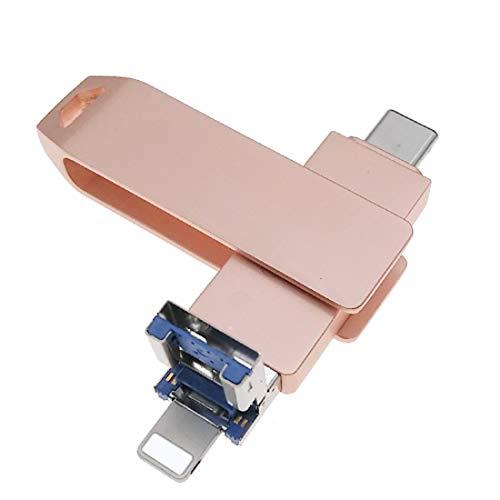 USB 3.0 Flash Drives Compatible con Teléfono/Pad Almacenamiento Externo 3 en 1 Memoria Memoria Memoria Memoria Memoria Memoria Memoria Memoria Memoria USB Tipo C para Android/PC (128 GB, Rosa)