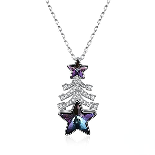 Yandm Sterling Silver Colorful Star Austria Crystal Pendant Christmas Tree Necklace for Women Color-B
