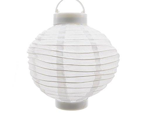 Solar Garten Lampion Weiß Laterne zum Aufhängen LED Warmweiß Ø 20 cm
