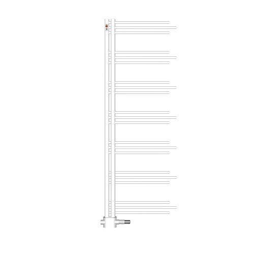 Mert Nezife Design Heizung elektrisch oder Warmwasser 1/2 Zoll Bad-Heizung 1200x500 Bad-Heizkörper Anschluss 50 mm weiß Handtuchhalter für Wandmontage