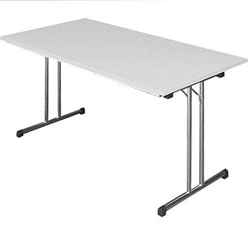 KLAPPTISCH Besprechungstisch Kantinentisch Verkaufstisch Schreibtisch 140x70 Lichtgrau/Stahl-Gestell chrom 350600