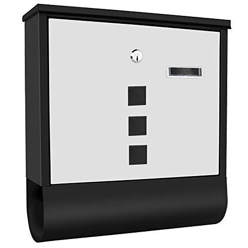 WEBIN brievenbus met huisdeuren van roestvrij staal, naamplaatje, kijkvenster, roestvrij staal gepoedercoat, afsluitbaar, 2 sleutels