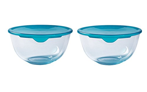 Pyrex Set of 2 Cook & Store Mixing Bowl Set with Lids 0.5 Litre