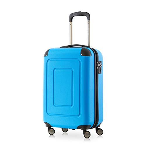 Happy Trolley - Lugano Bagaglio a mano Valigia Trolley da Cabina rigido TSA ABS 4 ruote, S (55cm), 40 litres, Blu