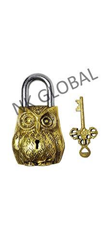 NK GLOBAL Messing Eule Türschlösser antike dekorative Retro Eisen, Holztor Schlösser mit Schlüsseln für Garage, schwere, Schuppen Sicherheit handgefertigte lange Schäkel Schlösser