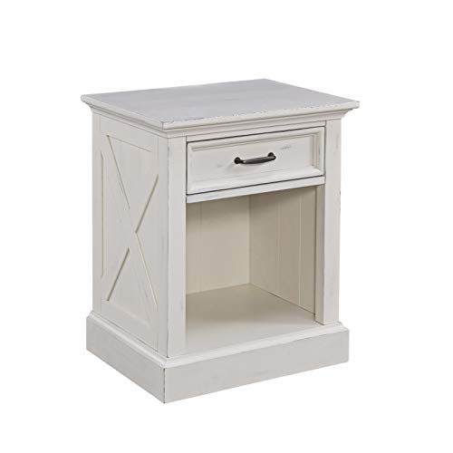 Home Styles Seaside Lodge Nightstand in White Finish, Wide Frame, Plank Top Design with One Drawer and Open Storage, Frame Constructed from Mahogany Wood Solids