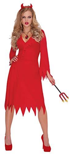 Amscam 997514 – Costume de Diable Rouge, Robe, Serre-tête, Halloween, fête à thème, Carnaval