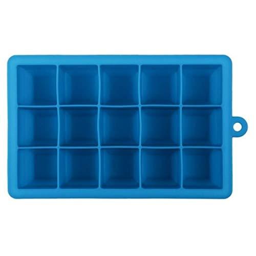 DIY herramientas 15 rejillas DIY Big Ice Cube Mold Forma cuadrada Bandeja de hielo de silicona Fruit Ice Cream Maker (Color : Sky Blue)