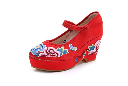 NHGFP Talón De Estilo Étnico De Cuña Zapatos De Tela Solos Zapatos...