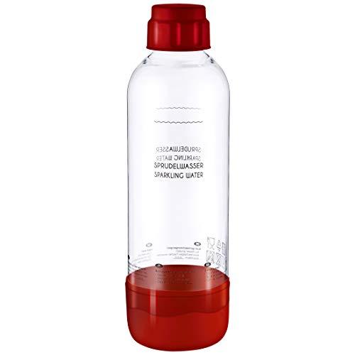 Levivo Wassersprudler Flasche, bruchfeste Kunstoffflasche für Levivo Sprudler, mit Deckel und Boden in Rot, Inhalt: ca. 1 Litre