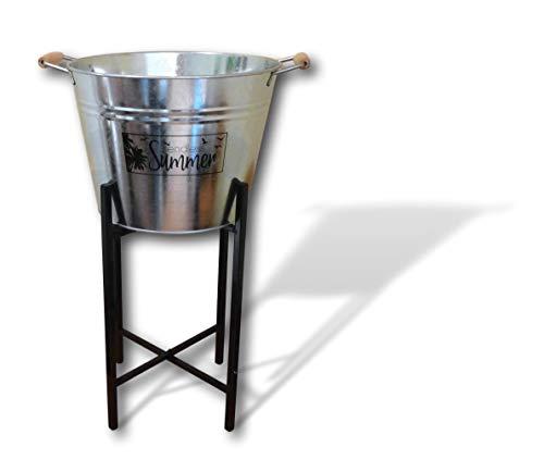 HCH Zinkeimer mit Ständer Getränkekühler Weinkühler Sektkühler Getränkeeimer Bierkühler Garten Party Kühler (Aufdruck: Endless Summer)