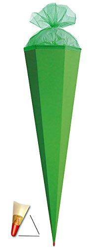 alles-meine.de GmbH Schultüte - Rohling - GRÜN - 85 cm - mit Holzspitze / Tüllabschluß - Zuckertüte Roth - zum Basteln, Bemalen und Bekleben Bastelschultüte