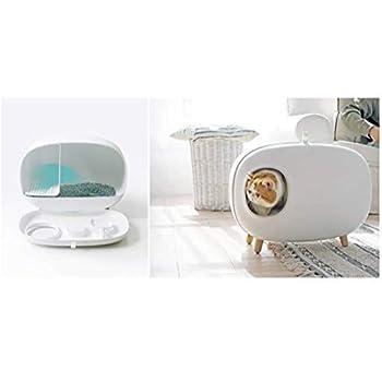 Niusion Boîtes à litière pour Chats Toilettes Anti-éclaboussures pour Chats Toilettes désodorisantes réutilisables faciles à Nettoyer Fournitures pour Chats (Blanc, Bleu, Rose),White