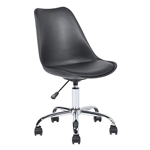 Bürostuhl Ohne Armlehne, Ergonomischer Drehstuhl, Schreibtischstuhl aus PP, Höhenverstellbar Rückenlehne, Schwarz, Blokhus Balck Plating