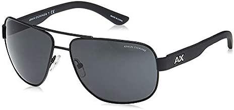 A X Armani Exchange Men's AX2012S Rectangular Metal Sunglasses, Satin Black/Black, 62 mm