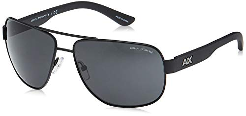 A|X Armani Exchange Men's AX2012S Rectangular Metal Sunglasses, Satin Black/Black, 62 mm
