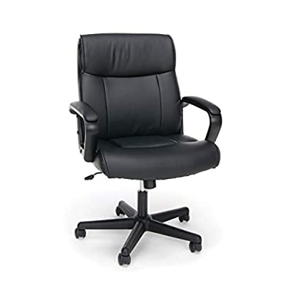 OFM ESS Collection Bonded Leather Executive Chair with Arms, in Black (ESS-6010) by basyx by HON