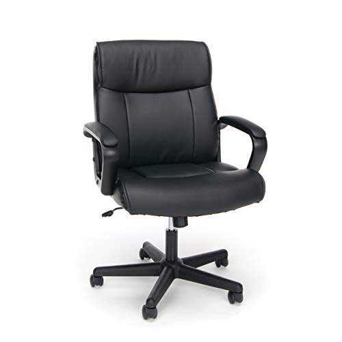 OFM ESS Collection Bonded Leather Executive Chair with Arms, in Black (ESS-6010)