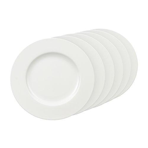Villeroy & Boch Royal Assiette plate en porcelaine Bone 27 cm, Porcelaine, Blanc., 6er Sets