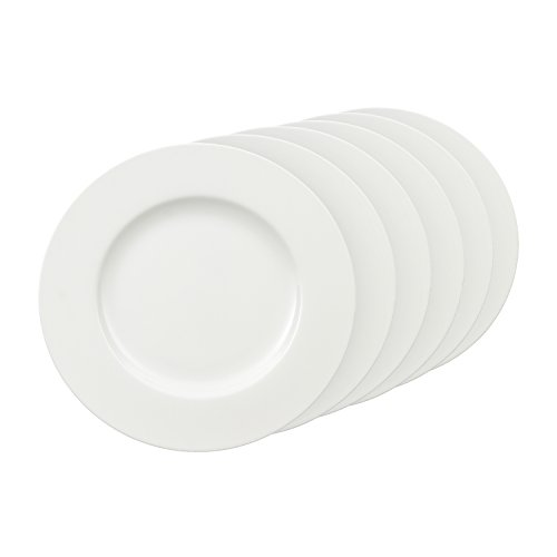 Villeroy & Boch - Royal Speiseteller Set, 6tlg., runde Essteller aus hochwertigem Premium Bone Porzellan, weiß, spülmaschinenfest, 27 cm