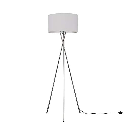 Modern Polished Chrome Metal Tripod Floor Lamp with a Pale Grey Cylinder Shade