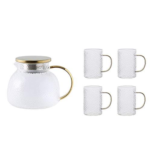 QAX Jarra de cristal con tapa y boquilla, jarra de agua de vidrio con asa, para nevera familiar, hervidor de 1 l + 4 tazas
