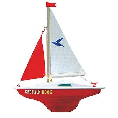 Paul Günther 1830 - Segelboot Captain Hook zum Spielen, ca. 24 x 31 cm groß, hochwertig gefertigt und segelfertig montiert, für Badesee, Strand und Badewanne