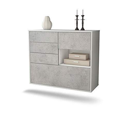 Dekati dressoir Knoxville hangend (92x77x35cm) romp wit mat | front beton look | Push-to-Open