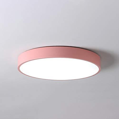 PUCHIKA LED Deckenleuchte Ultra Dünn Deckenlampe Bürolampe Rund Wohnzimmer Kinderzimmer Lampen 40cm 24W Pink