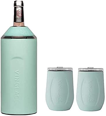 Vinglacé Gift Set - Bottle Insulator Chiller with 2 Stemless Wine Glasses - Great Gift Ideas for Wine and Champagne Lovers (Sea Glass)