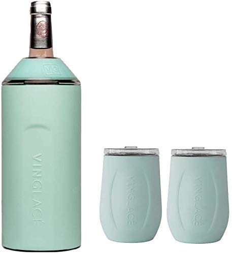 Vinglacé Gift Set - Bottle Insulator Chiller with 2 Stemless Wine Glasses - Great Gift Ideas for Wine and Champagne Lovers Sea Glass