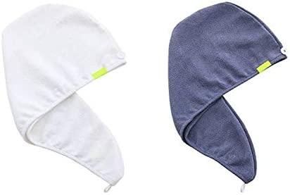 AQUIS Original Hair Turbans Set of 2 Perfect Hands Free Microfiber Hair Drying White and Dark product image