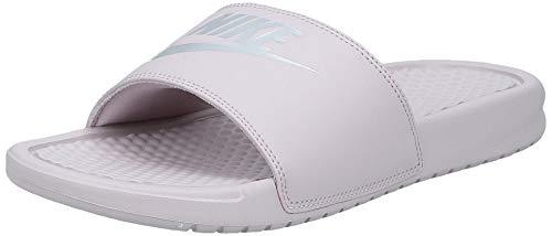 Nike Women's Benassi Just Do It Sandal, Particle Rose/Metallic Silver, 9 Regular US