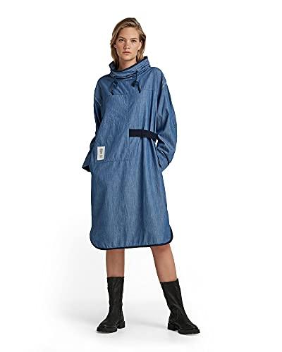G-STAR RAW Mock Long Sleeve Vestido Casual, Azul (Rinsed C432-082), L para Mujer