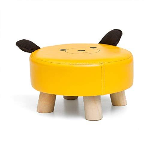 jinrun Taburete otomano Forma pequeña de Meng Meng Modelo Animal Pequeño Banco, Colores Brillantes, Patas de Taburete de Madera sólida, Estabilidad Fuerte Reposapiés (Color : Yellow)