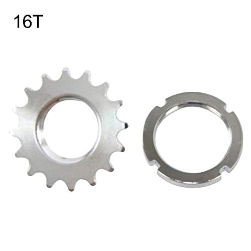 kaaka 13/14/15/16/17/18T Fixed Gear Bicycle Track Single Speed 1/8' Cog Lock Ring for Mountain Bike Road Bike Universal Replacement Part Gear Accessory 16T