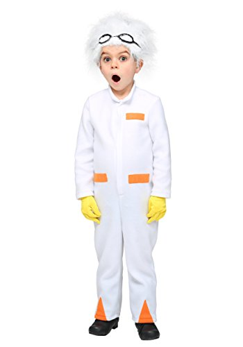 Toddler Doc Emmett Brown Back To The Future White Costume. 18 months to 4T sizes, comes with goggles and wig