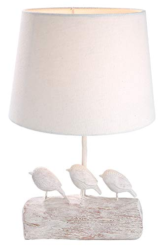 GILDE lamp - van poly met 3 vogels en crèmekleurig textiel scherm H 40 cm