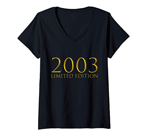 Mujer 18 Años Cumpleaños Chico Chica Regalo Deco Divertido 2003 Camiseta Cuello V
