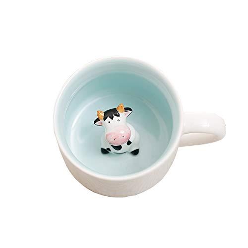 joizo 1 Pc 3D Keramik Arbeitshandbuch Tierkaffeetasse Lustige Keramikbecher Handgemachte Handbemalte Kreative Kunst-Becher Entzückende Design Becher Milch 400 ml / 14.1 Oz (Kuh)