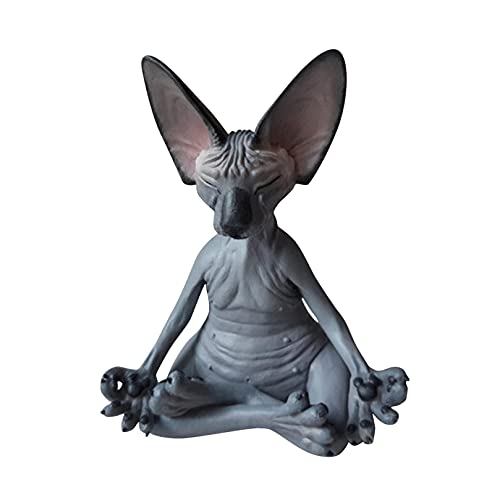 TAKTOM Sphynx Cat Meditate Collectible-Yoga Buddha Zen Garden Gnome Statue Figurine -Funny Unique Gnomes Lawn Ornament Figure Sculpture-Best Art Décor for Indoor Outdoor Home Or Office (B)