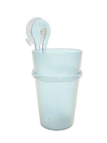 koziol Zahnputzbecher-Halter 300 ml Loop,  Kunststoff, transparent klar, 8 x 7.2 x 17.5 cm