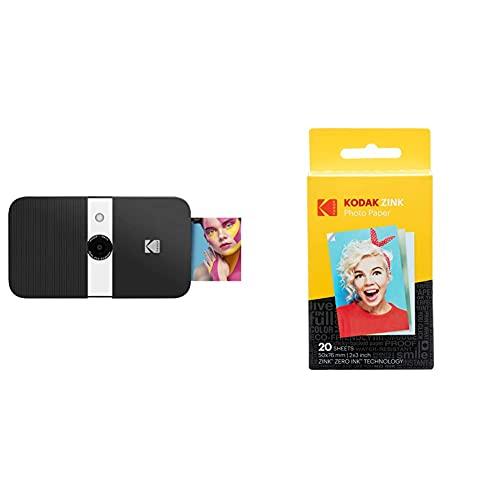 Kodak Smile Fotocamera Digitale A Stampa Istantanea, 10Mp Con Stampante Zink 2X3, Schermo, Messa A Fuoco Fissa & Zink Photo Paper 20Pezzo(I) 50 X 76Mm Pellicola Per Istantanee, 20 Pack
