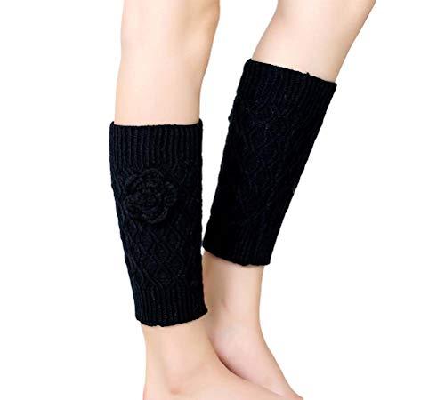 Nanxson Damen Beinwärmer Gestrickte Stulpe Kurz Socken Beinstulpen Ideales Wintergeschenk TTW0052 (L, schwarz
