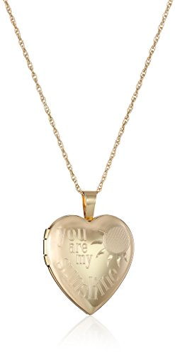 "14k Gold-Filled ""You Are My Sunshine"" Heart Locket Necklace, 18"""